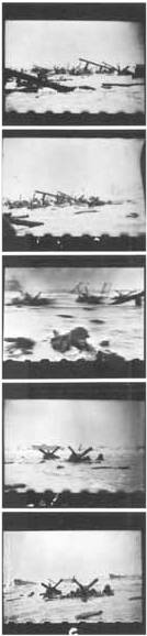 A negative strip of the black and white images