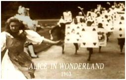 Screenshot from the first film version of Alice in Wonderland in 1903. The original copy is held by the British Film Institute. Alice in Wonderland (1903 film).jpg