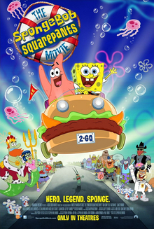 "Film poster showing SpongeBob SquarePants (center right) and Patrick Star (center left) on a car shaped like a sandwich, ready to save the world Below them are various Bikini Bottom residents watching the pair, including Mr. Krabs, Squidward Tentacles and Sandy Cheeks. In the upper left side of the image is the title. Below is shown the text ""Hero. Legend. Sponge."" above the credits and the production details."