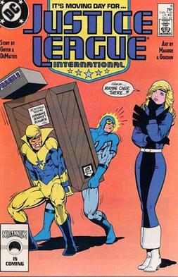 Copertina di Justice League International vol. 1 n. 8 (Dicembre 1987). Disegni e chine di Kevin Maguire e Joe Rubinstein