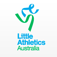 "The logo of Little Athletics Australia. The logo looks like a person running made from two separate ribbon looking shapes (one is green, one is blue). The text says: ""Little Athletics Australia"""