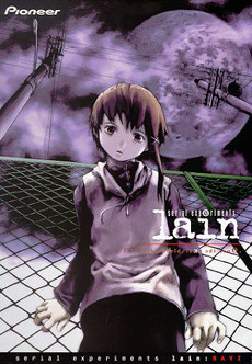 DVD box set of Serial Experiments Lain, the cover image shows a young fourteen-year old girl looking down at the viewer while holding on to a fence, the moon and several telegraph wires overhead, bathed in a purple light.