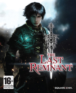 "A young man in light armor with medium-length black hair looks at the viewer. Black storm clouds are behind him, and embers are seemingly blown towards the left in front of him. The logo with the words ""The Last Remnant"" centered above each other on three lines is in the lower right, with an ornate sword pierced through them."