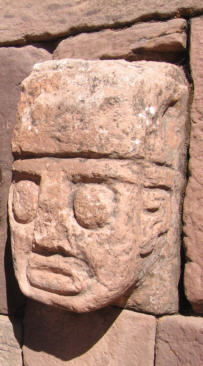Closeup of a carved stone tenon-head embedded in wall of Tiwanaku's Semi-subterranean (Sunken) Temple Tiwanaku tenon head 20060613 0475.jpg