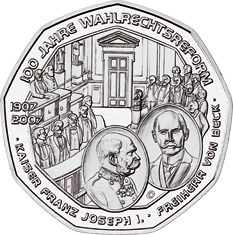 2007 Austrian coin depicting 100 Years of Universal Male Suffrage, showing Parliament in 1907 2007 Austria 5 Euro 100 Years Universal Male Suffrage back.jpg