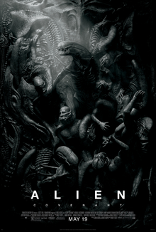 A black-and-white poster of a mass of humanoid figures being surrounded/tortured by aliens, not unlike Renaissance depictions of Hell, with one alien at the center highlighted by a shaft of light from the upper-left.