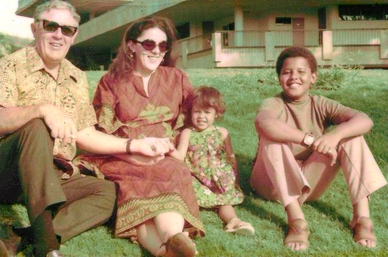 Stanley Armour Dunham, Ann Dunham, Maya Soetoro and Barack Obama, (l to r) mid-1970s in Honolulu Ann Dunham with father and children.jpg