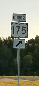 Sign display for Business US 175-G at its southeast terminus in Athens.