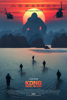 Kong standing right front of the sun, near the hills and Soliders chasing him in the water.