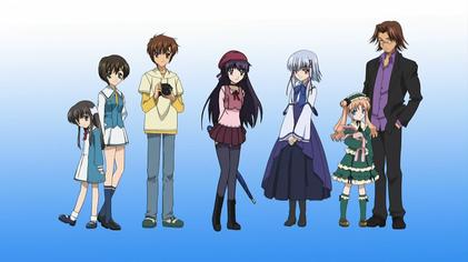 The main characters of Sola (from left to right): Koyori, Mana, Yorito, Matsuri, Aono, Mayuko, and Takeshi.