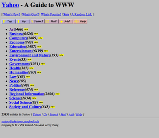 Yahoo screenshot 1994