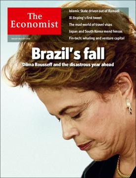 January 2016 cover of The Economist magazine about the crisis. The cover depicts then-president Dilma Rousseff