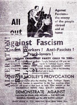 Αφίσα που καλεί σε αντισυγκέντρωση στην πλατεία Trafalgar