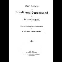 <i>On the Content and Object of Presentations</i> 1894 book by Kazimierz Twardowski
