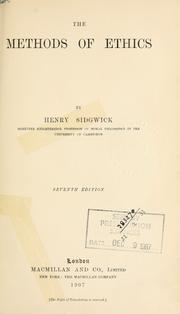 <i>The Methods of Ethics</i> book by Henry Sidgwick