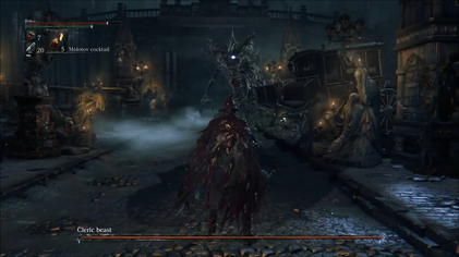Gameplay screenshot of the Bloodborne alpha release, showing the player battling one of the game's bosses, the Cleric Beast. Similarly to the Souls games, Bloodborne places a considerable emphasis on boss battles.