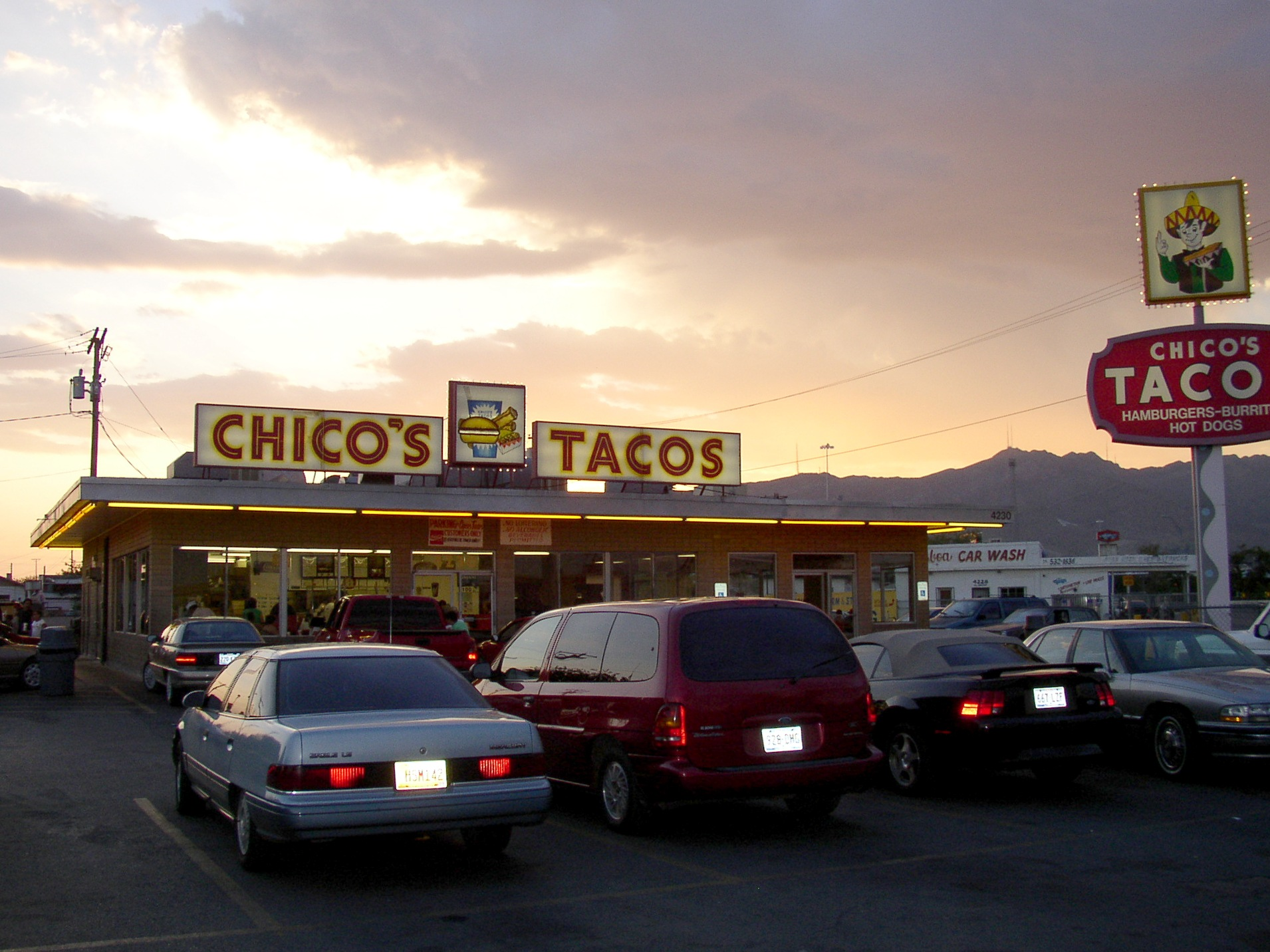 Chicos Tacos http://en.wikipedia.org/wiki/File:Chicos_Tacos_on_Alameda.JPG