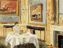 "Her Majesty the Queen at Breakfast painted by her husband in 1957. Biographer Robert Lacey described the painting as ""a tender portrayal, impressionistic in style, with brushstrokes that are charmingly soft and fuzzy"".[115]"