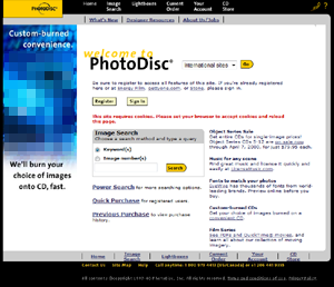 Photodisc's online image sales website (2000)