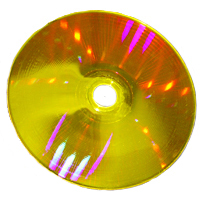 Picture of a Holographic Versatile Disc by Optware.
