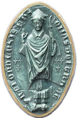 Mandorla-shaped seal of Bishop Thomas de Cantilupe. Legend: TOMAS DEI GRATIA HEREFORDENSIS EP(ISCOPU)S (Thomas by the grace of God Bishop of Hereford). The arms of Cantilupe ancient are displayed on each side of the bishop: three fleurs-de-lys. Hereford Cathedral Archives 6460. He stands on a wolf (Latin lupus), a canting charge seen on pre-heraldic seals of the Cantilupe family StThomasDeCantilupeSeal.jpg