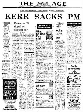 Front page of The Age reporting the dismissal of the Prime Minister on 11 November 1975