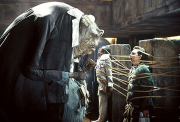 Prostetnic Vogon Jeltz of the Galactic Hyperspace Planning Council tortures Ford Prefect and Arthur Dent with his poetry in the 2005 film The Hitchhiker's Guide to the Galaxy. Vogon poetry2.jpg