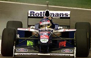 Jacques Villeneuve driving in the San Marino Grand Prix