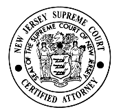 The official Seal of the Supreme Court, as included in certificates granted to attorneys approved by the Board of Attorney Certification in one of several specialist areas.[2]