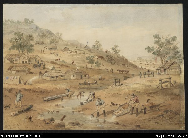 S. T Gill, Diggings in the Mount Alexander district of Victoria in 1852