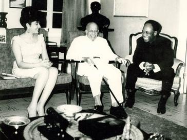 Du Bois (center) at his 95th birthday party in 1963 in Ghana, with President Kwame Nkrumah (right) and First Lady Fathia Nkrumah Du Bois 95th birthday in Ghana 1963.jpg