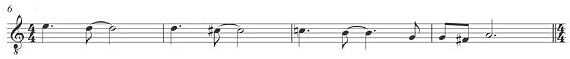"A leitmotif used throughout the album first appears on ""Piggy"". Pictured here is the pattern (transposed to A) on the album's title track The Downward Spiral motif.jpg"