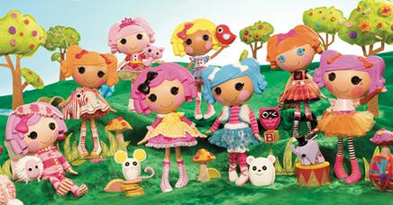 Lalaloopsy dolls from 2010, from left to right: Pillow Featherbed, ...