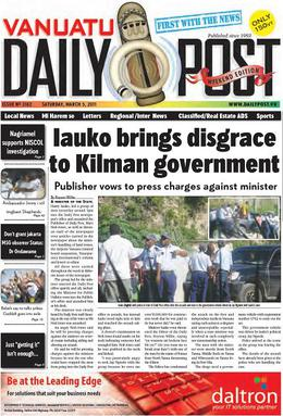 Cover of the 'Vanuatu Daily Post'