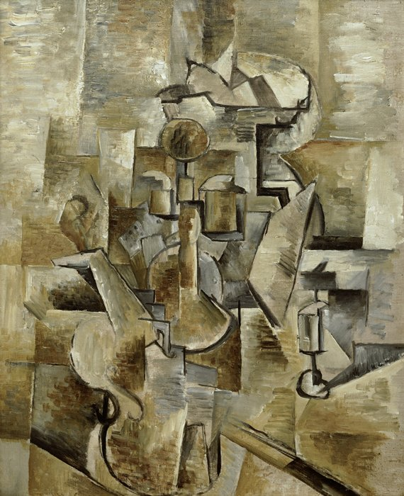 Violin and Candlestick by Georges Braque, A pioneering Cubist. (Wikipedia)