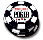 The WSOP logo on a poker chip.