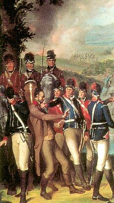 Detail of the Battle of Ballynahinch 1798 by Thomas Robinson. Government Yeomanry prepare to hang United Irish insurgent Hugh McCulloch, a grocer.