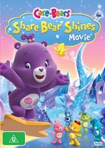 A purple bear with two lollipops on her stomach is riding upon a star. Beneath her, five others are standing in different poses on an icy surface.