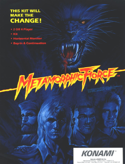 U.S. arcade flyer of Metamorphic Force.