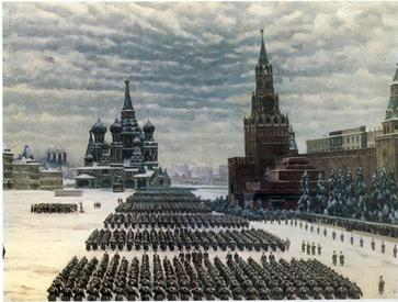 Parade by Soviet troops on Red Square, Thursday, 7 November 1941, depicted in 1949 painting by Konstantin Yuon vividly demonstrating the symbolic significance of the event Yuon RedSquare Parade 1941.jpg