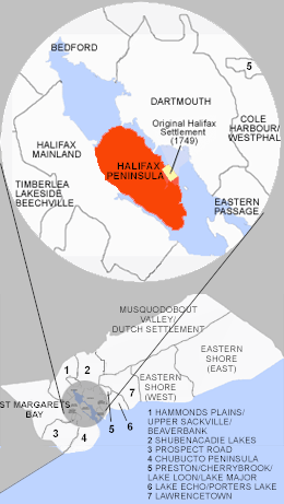 Location of Halifax Peninsula