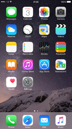 The iPhone Home screen of iOS 8 shows most of the applications provided by Apple. Users can download additional applications from the App store, create Web Clips, rearrange the icons, and create and delete folders. - iPhone