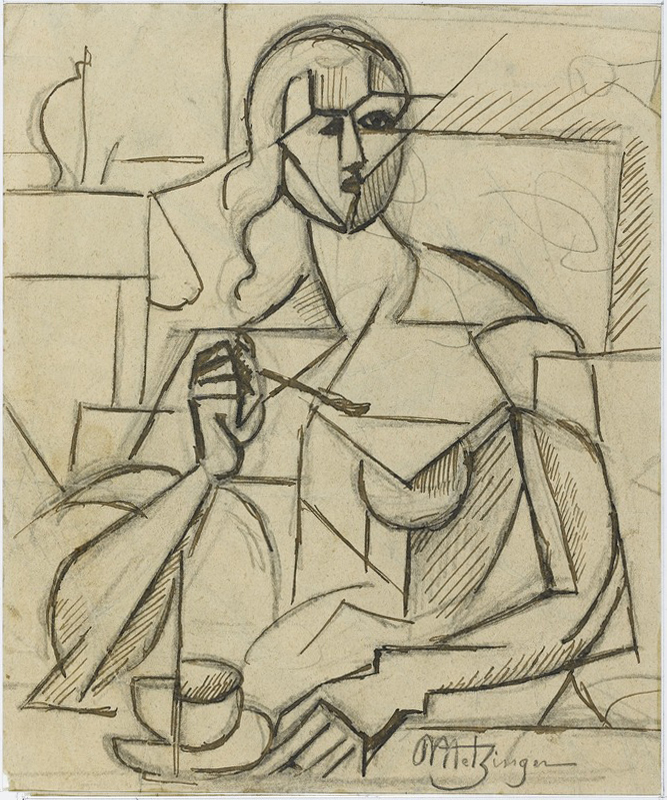 Jean metzinger 1911 etude pour le goûter graphite and ink on paper 19 x 15 cm musée national dart moderne centre georges pompidou