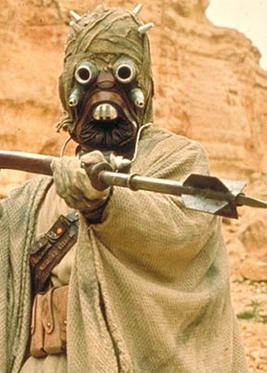A Tusken Raider, a native inhabitant of Tatooine.