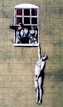 Well Hung Lover, one of many Banksy artworks in the city, which has since been vandalised with blue paint (partially cleaned by the city council) Banksy-ps2.jpg