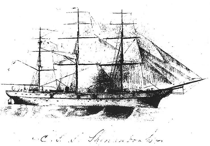 A pencil sketch of CSS Shenandoah, from the inside cover of a notebook kept by her Commanding Officer, James I. Waddell