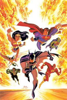 Cover art for the comic Justice League Adventures #1 (2002).Art by Bruce Timm and Alex Ross.