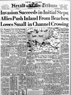 The front page of the New York Herald Tribune on June 7, 1944, showing the D-Day landings on June 6.