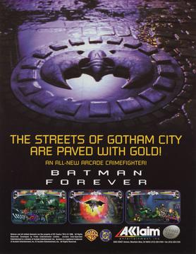 Official poster of Batman Forever: Arcade Game launched in 1996.