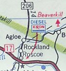 "Image of a series of roads an intersections in New York State, with state routes ""17"" and ""206,"" and villages or hamlets ""Roscoe,"" ""Rockland,"" and ""Agloe."""